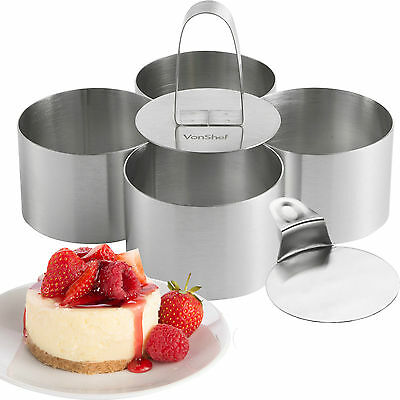 VonShef Stainless Steel Food Cooking Presentation Rings 6 Piece Set - 4 Rings