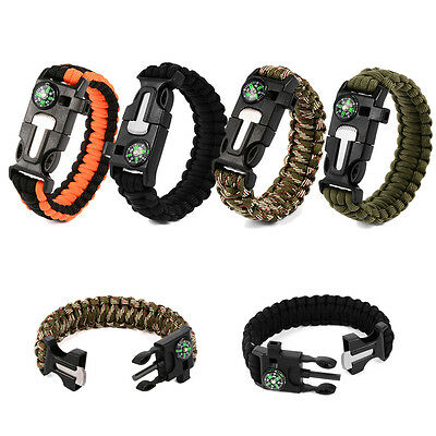 Paracord Emergency Bracelet With Compass Cutting Tool Outdoor Survival Kit New