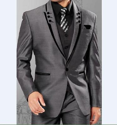 Slim Silver Grey Satin Groom Tuxedos Best Man Groomsmen Men Wedding Suits
