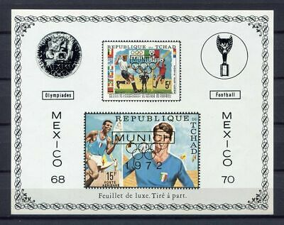 s4907) TCHAD 1970 MNH** WC Football - CM Calcio S/S IMPERF DE LUXE OVPTD