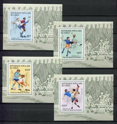 s6263) CONGO 1990 MNH** WC Football'90-CM Calcio S/S x4 IMPERF SPECIAL EDIT.