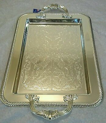 Silver Plated Tray Platter Tableware With Handles Tarnish Resistant  Made in UK