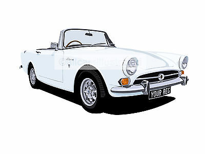 Sunbeam Alpine Car Art Print (Size A4). Choose Your Colour, Add Your Reg Plate