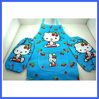 Childrens Kids Cartoon Painting With Apron Sleeves SET For Hello Kitty + Charm