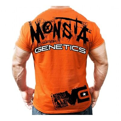NEW Men's Monsta Clothing GENETICS Soft Bodybuilding Workout Gym Tee: Orange