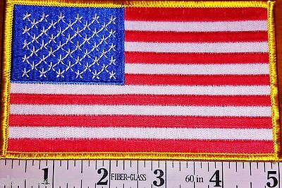 "3 Pieces USA American flag patch JUMBO 3""x5"" Embroidered W/Gold Border"