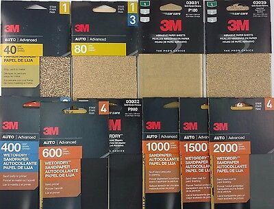 "3M SANDPAPER Auto Boat Shop Home 3 2/3""x9"", 5-6 Sheets/Pk SELECT: Dry 'DryorWet'"