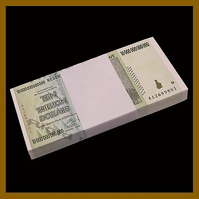 Zimbabwe 10 Trillion Dollars  x 50 Pcs Bundle, 2008 AA Unc, 100 T Series