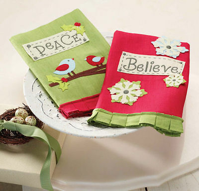 Mud Pie Holiday Hostess Christmas Peace OR Believe Towels Sold Separately 122064