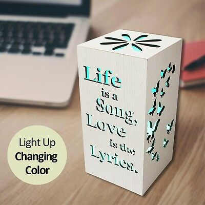 Color Changing Decorative LED Light Home Gift Wooden White Life Love Novelty