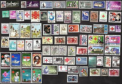 75 All Different RED CROSS   STAMPS