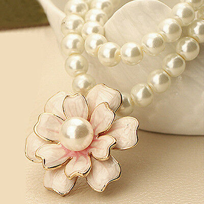 1pc White Color Long Sweater Chain Pendant Pink Flower Pearl Necklace Women