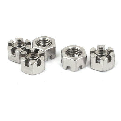 M16 Threaded 2mm Pitch 304 Stainless Steel Metric Hexagon Castle Nuts 5 Pcs