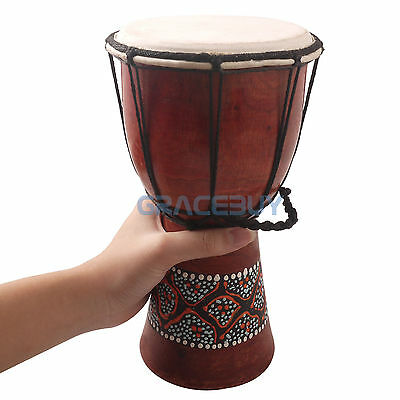 "5"" Djembe African Style Hand Drum Classic Painting Wooden Percussion Drum Nice"