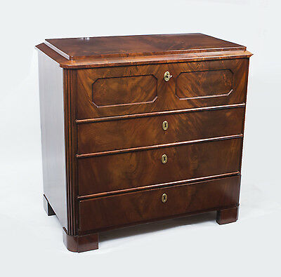 Antique Biedermeier Flame Mahogany Secretaire Chest c.1820