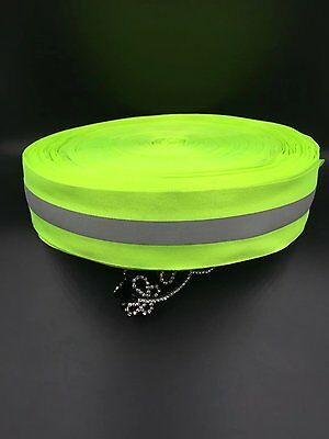 Sew On Hi Visibility Fluorescent green 50mm Tape 15mm Silver Reflective Strip So