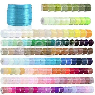 "50 Yards Satin Ribbon 1/8"" 3mm Craft Wedding Party Festival Decoratio RN0001"