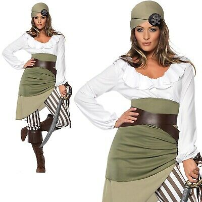Pirate Shipmate Costume Womens Buccaneer Ladies Halloween Fancy Dress UK 8-18