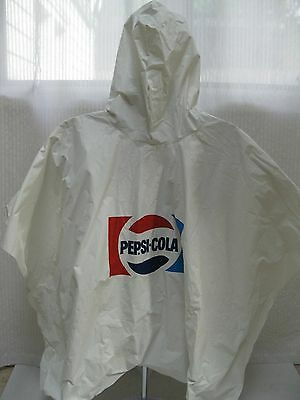 VINTAGE--RARE--PEPSI-COLA VINYL RAIN PONCHO--White--One Size Fits All
