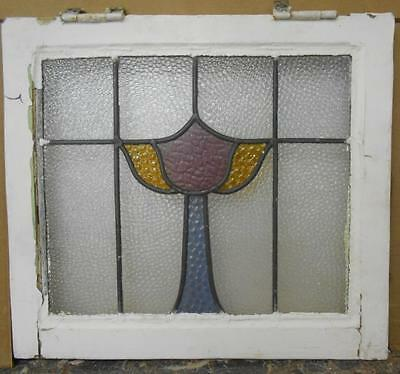 "OLD ENGLISH LEADED STAINED GLASS WINDOW Abstract Floral Design 19.75"" x 18"""