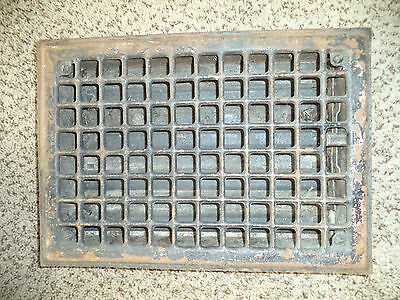 "Antique steel Floor Grate w/louvers - Salvaged -Black- [13 5/8"" x 9 5/8""]"