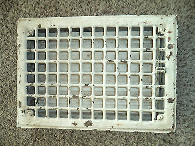 "Antique steel Floor Grate w/louvers - Salvaged -White- [13 5/8"" x 9 5/8""]"