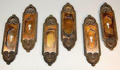 Vintage Set Of Six Bronze Keyhole Escutcheon Plates - Art Nouveau