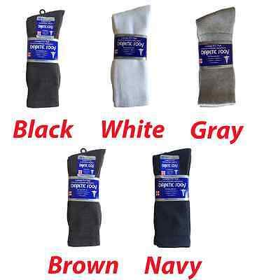 3, 6, or 12 Pairs Diabetic CREW circulatory Socks Health Men's Cotton All Sizes