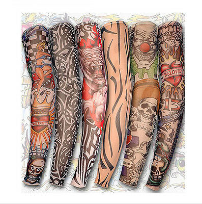 Fashion 6 pcs Nylon Temporary Tattoo Sleeve Arm Stockings Tatoo For Men Women