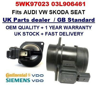AUDI VW SEAT SKODA 1.6TDI Mass Air Flow meter Sensor 5WK97023 03L906461 GENUINE*