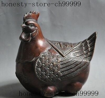 china fengshui bronze wealth money zodiac Cock Rooster Chicken auspicious statue