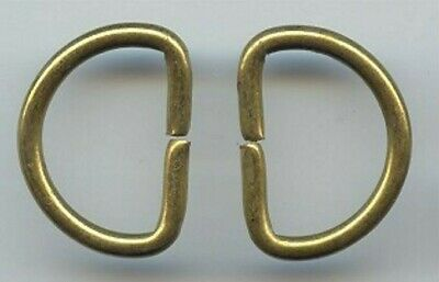 12 VINTAGE BRASS PLATED STEEL HALF CIRCLE 28x21mm. OPEN FINDINGS W403