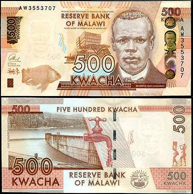 Malawi 500 Kwacha 2014 P 61 New Sign Blind Feature Unc