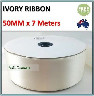 Satin Ribbon Ivory, Wedding Car Decoration 50mm x 7m Flat Pack, Cloth