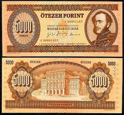 HUNGARY 5000 FORINT 1995 P177d UNCIRCULATED