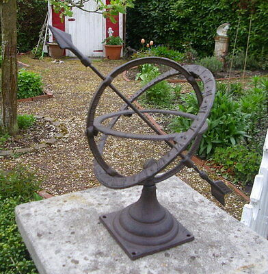 Garden Sundial Count Only Sunny Hours Cast Iron Antique Style Decoration