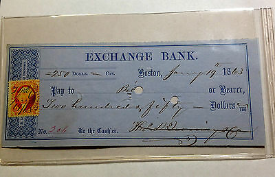 1863 Exchange Bank Boston Mass. W/revenue Stamp Sharp Note And Signatures