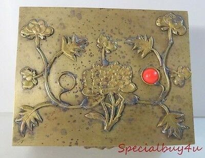 Vintage Asian Chinese Brass Vanity Trinket Box Brass Floral Wood Lined As is
