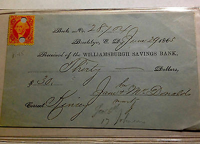 Two 1865 Williamsburgh Savings Bank W/revenue Stamp Sharp Note And Signatures