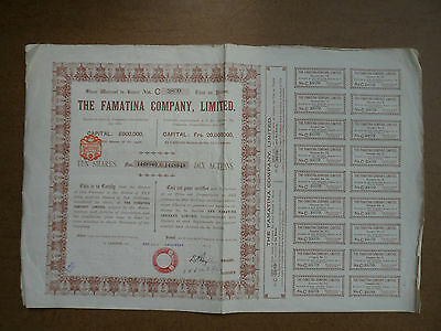 Une Action Titre Emprunt The Famatina Company Limited 1912