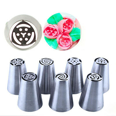 7X Russian Tulip Icing Piping Nozzle Stainless Tips Flower Cake Decorating Tool
