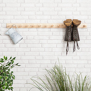 6 PAIR Wooden Wall Mounted Welly Rack Hanging Wellington Boot Storage Wood Stand