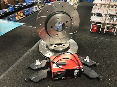 BMW 330i 330D 330Ci FRONT BREMBO BRAKE PADS CROSS DRILLED GROOVED BRAKE DISC