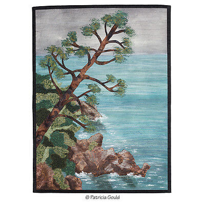"Adriatic Etude, 25.75"" x 19"" mixed media fiber art wall hanging"