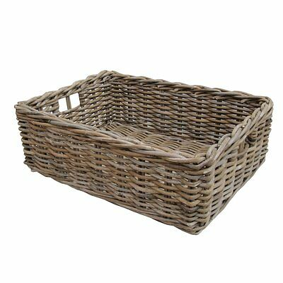 Rectangular Wicker Grey Buff Rattan Storage Baskets Empty Hamper Storage Tray