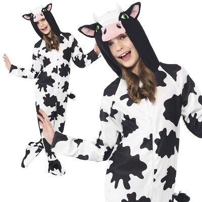 Childs Cow Costume Black and White Animal Kids Fancy Dress Outfit