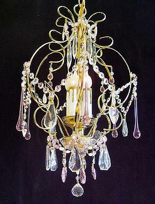 "Baby Pink Crystal Chandelier 14"" X 20"" Brass 4 Lights"