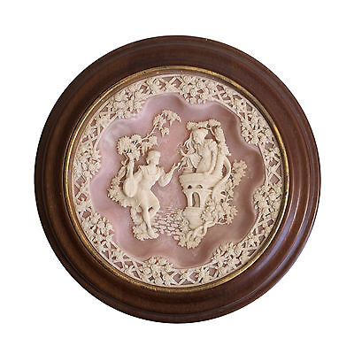 Pink Cameo Shakespeare's Romeo & Juliet Framed Incolay Stone Wall Decor Plate