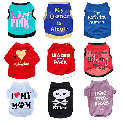Dog Cat Clothes Apparel Pet Puppy Vest T Shirt Chihuahua Teddy Teacup Costume