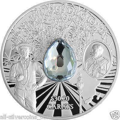 2 oz Silver Proof Great Star of Africa (Diamond) Coin - $10 2015 Cook Islands